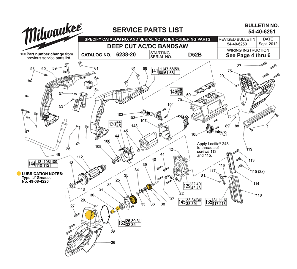 Buy Milwaukee 6238-20-(D52B) Replacement Tool Parts