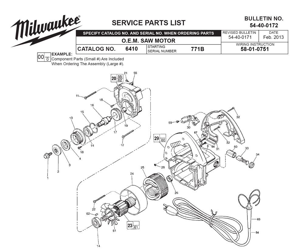 Buy Milwaukee 6410-(771B) Replacement Tool Parts