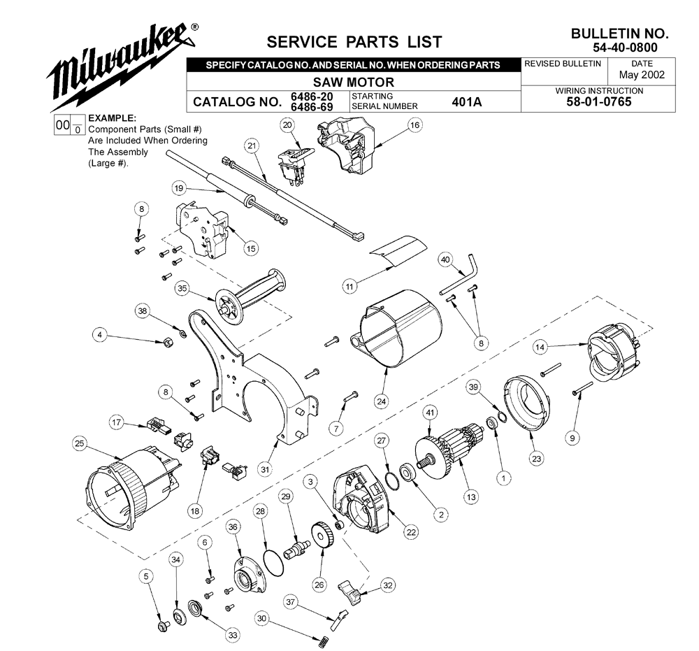 Buy Milwaukee 6486-20-(401A) Replacement Tool Parts