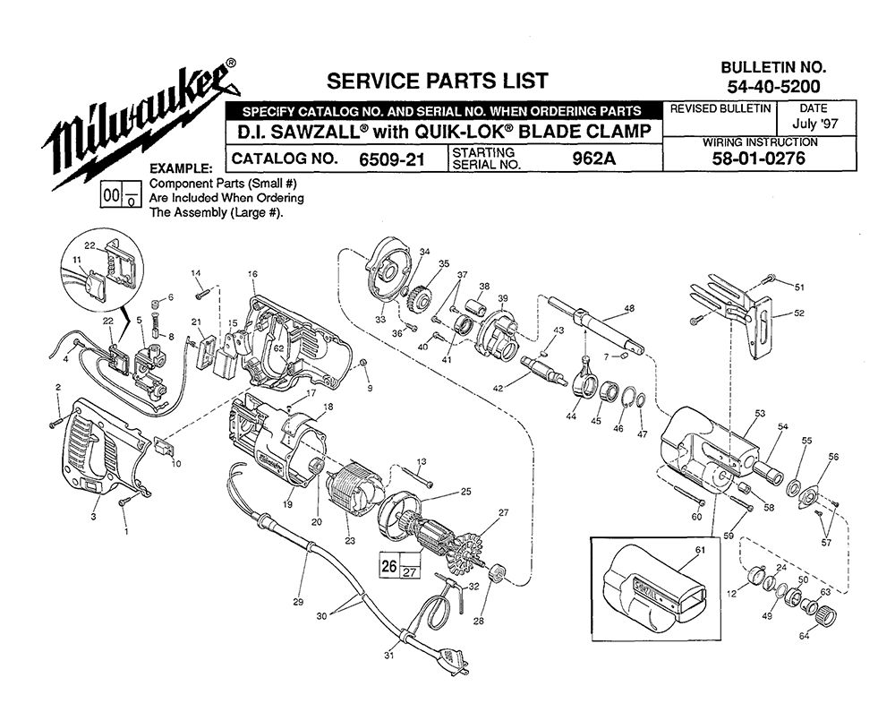 Buy Milwaukee 6509-21-(962A) Replacement Tool Parts