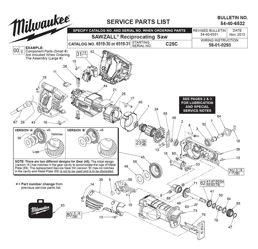 Buy Milwaukee 6519-30-(C25C) Replacement Tool Parts