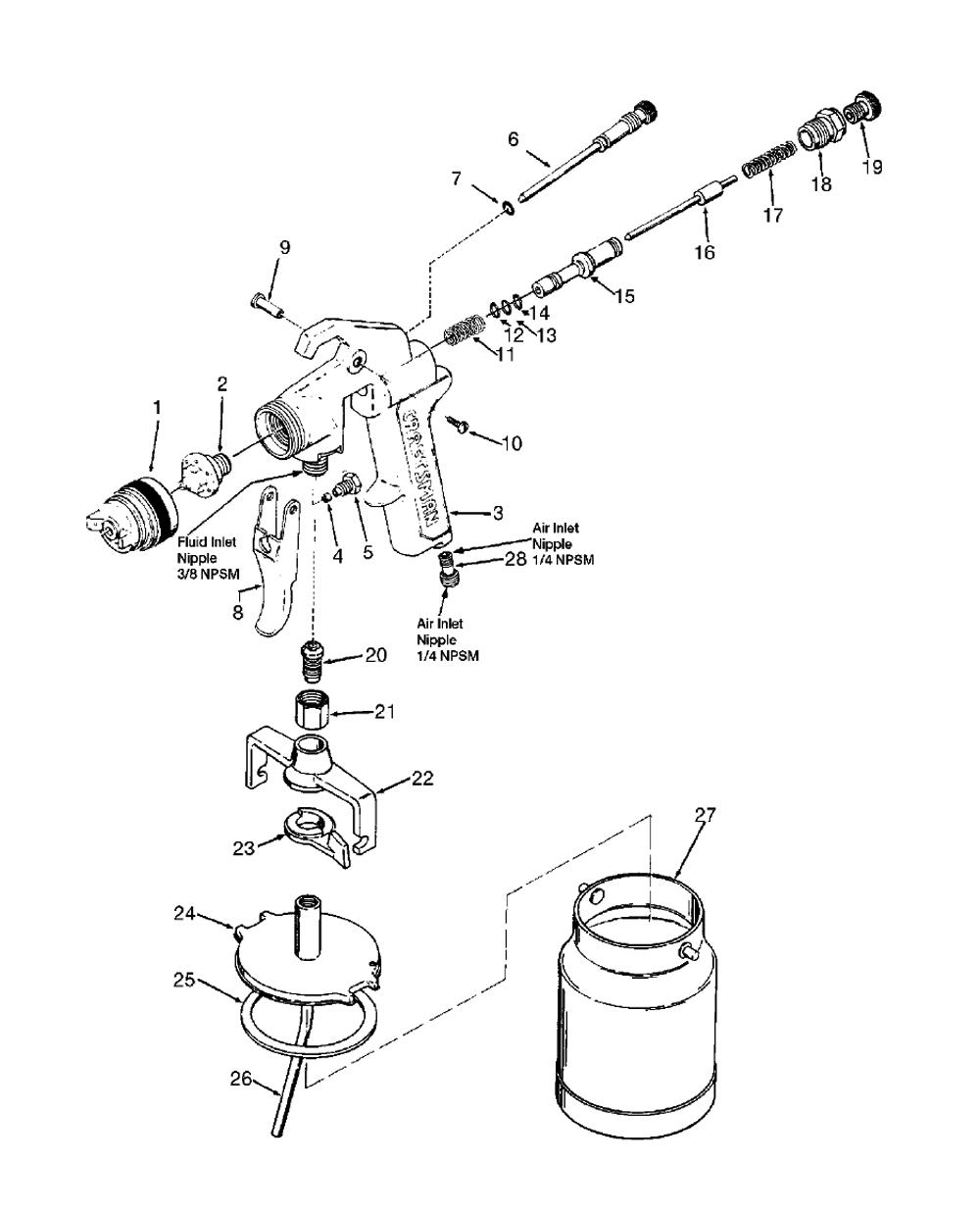 devilbiss spray gun parts diagram liftmaster garagentor ffner buy asp500 type 1 replacement tool schematic