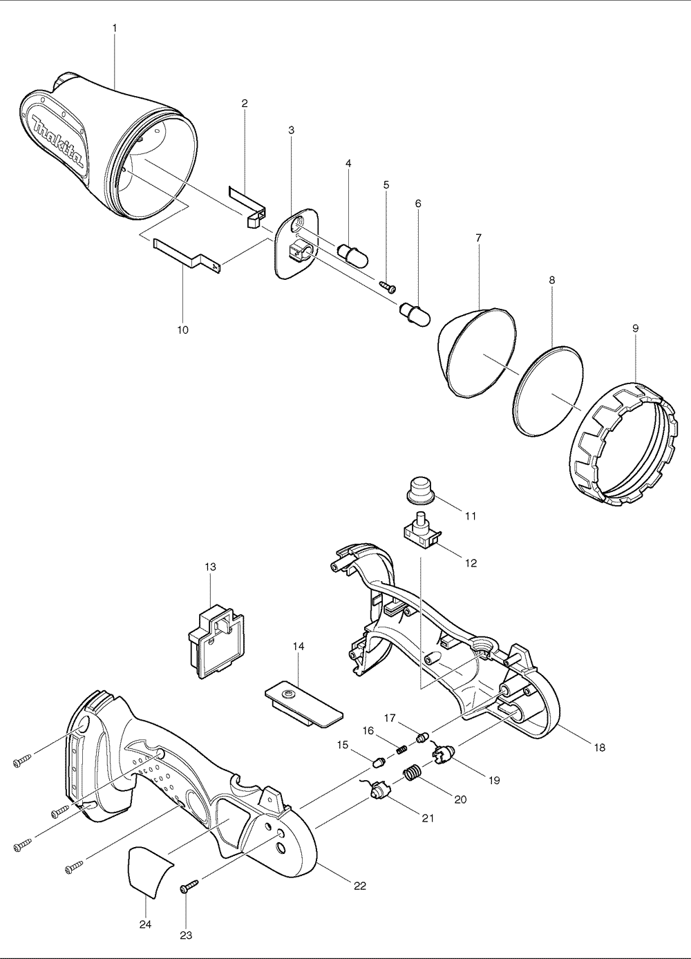 schematic diagram of flashlight