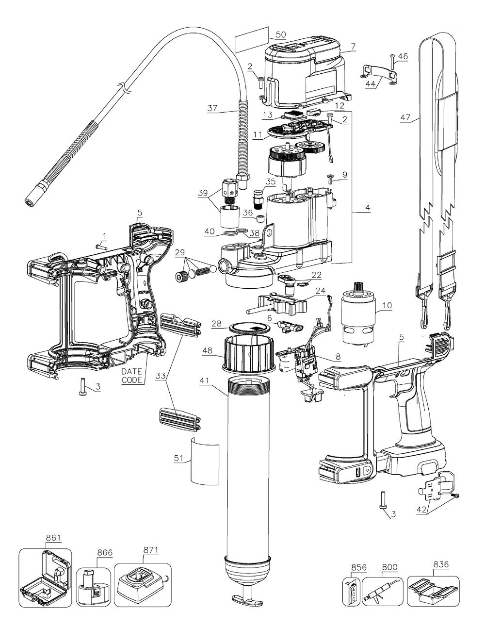hight resolution of dewalt dcgg570k type 1 parts schematic