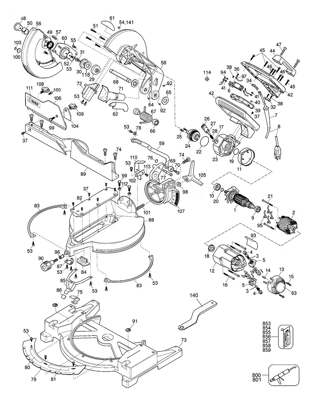 Buy dewalt dw705 44 type 2 replacement tool parts dewalt dw705 dewalt dw705 switch kit at dewalt dw705 44 type 2 parts schematic