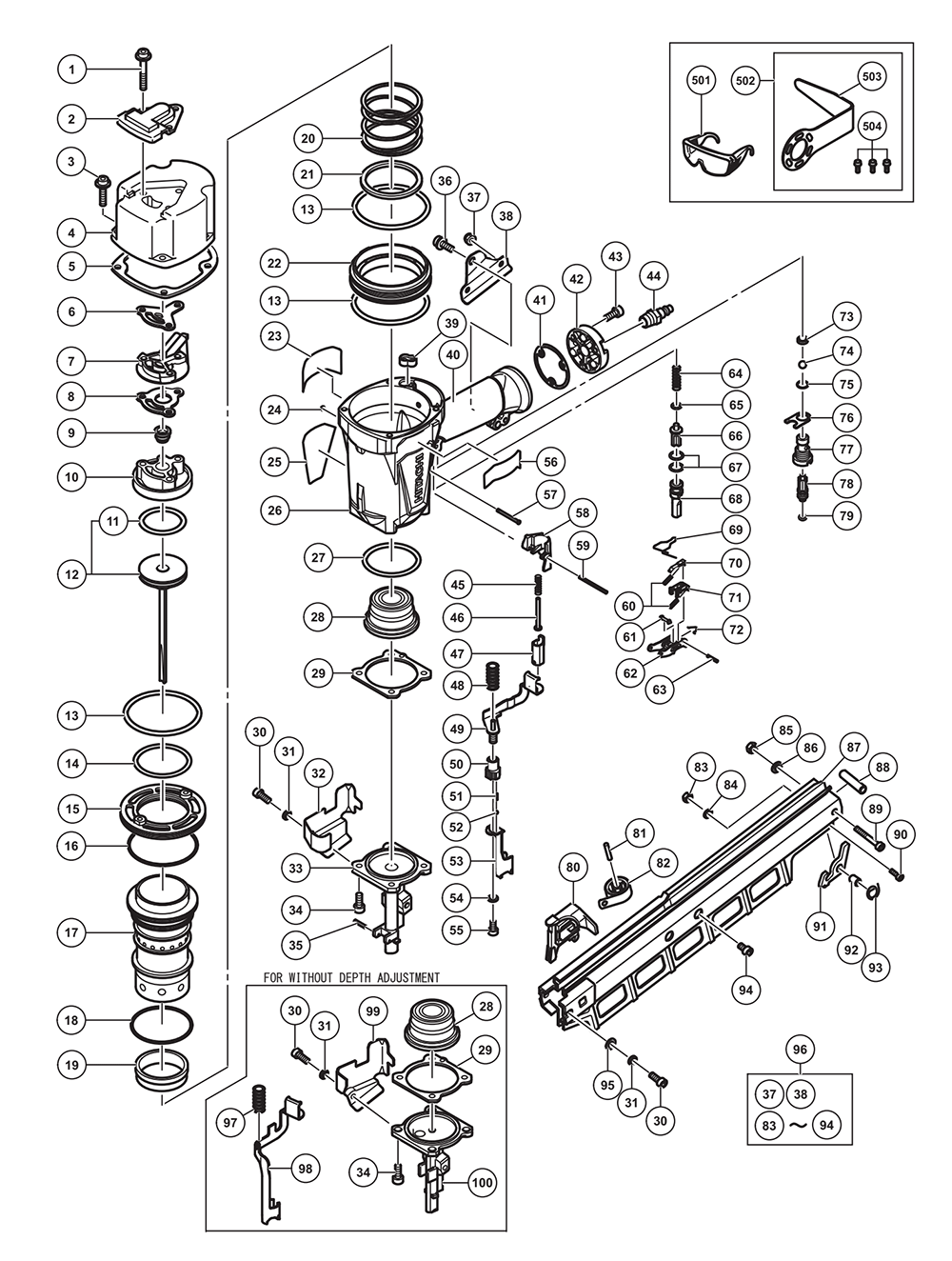 medium resolution of hitachi nr83a5 s parts schematic