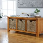 Country Oak Shoe Storage Bench With 3 Baskets Free Delivery Top Furniture