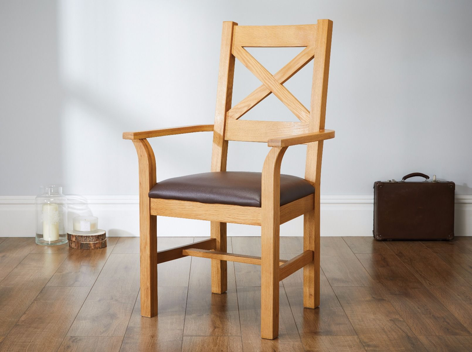 Windermere Cross Back Oak Carver Chair With Brown Leather Seat