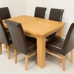 1 4m Riga Oak Dining Table 6 Emperor Brown Leather Dining Chairs