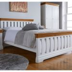 White Painted Slatted 5ft King Size Oak Bed Free Delivery Top Furniture