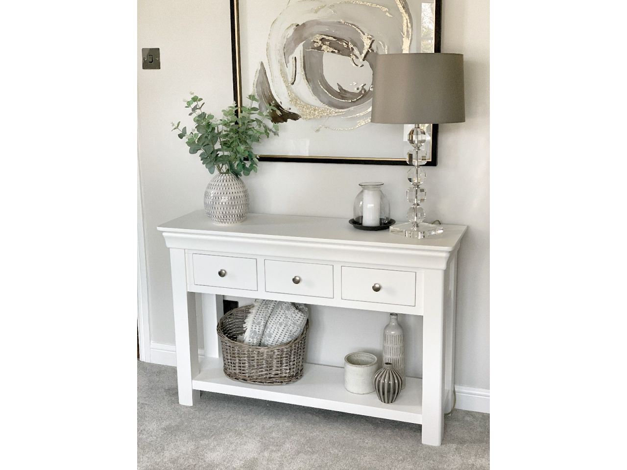 Toulouse White Painted Large 3 Drawer Console Table Fully Assembled