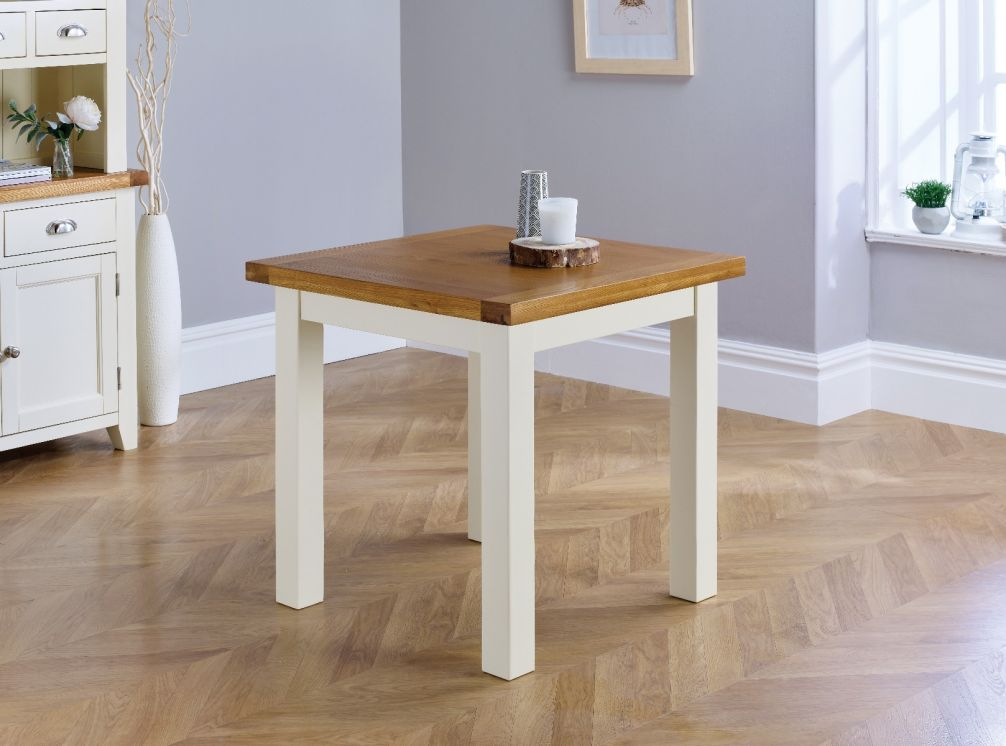 country oak 80cm cream painted square oak dining table desk