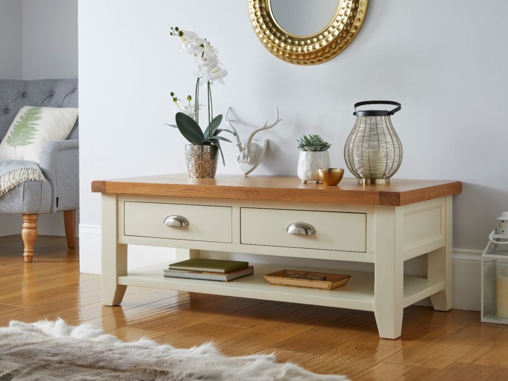 country cottage cream painted large 4 drawer oak coffee table with shelf march mega deal