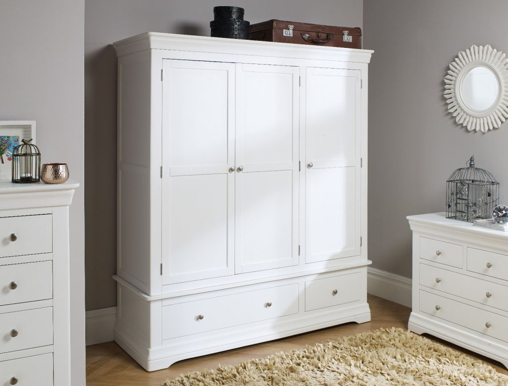 toulouse white painted triple wardrobe with drawer