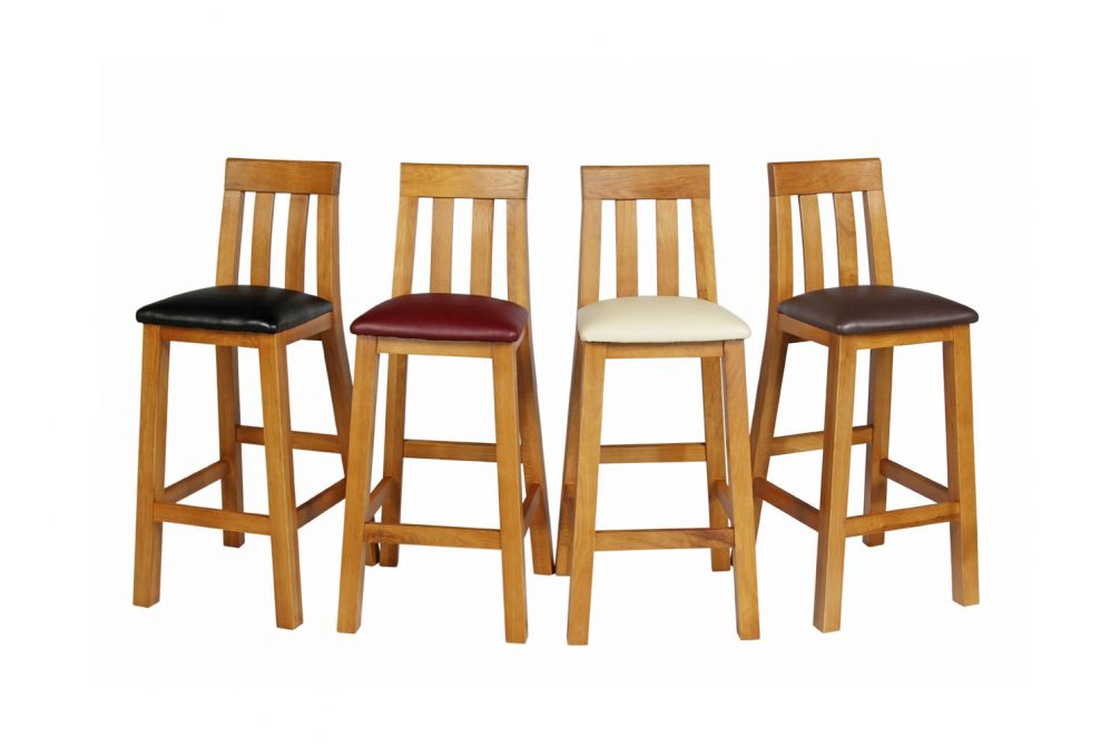 wooden kitchen stools chair seat cushions tall oak stool l black leather free delivery top furniture billy bar