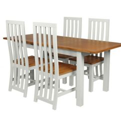 Grey Painted Chairs Black And White Arm Chair Country Oak 180cm Extending Dining Table 4 Dorchester Previous