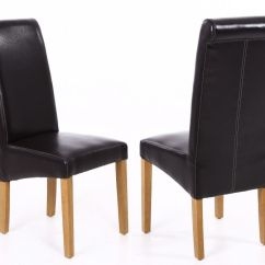 Dark Brown Leather Chair Foldable Office Uk Tuscan Dining Room Chairs From Top Furniture Scroll Back