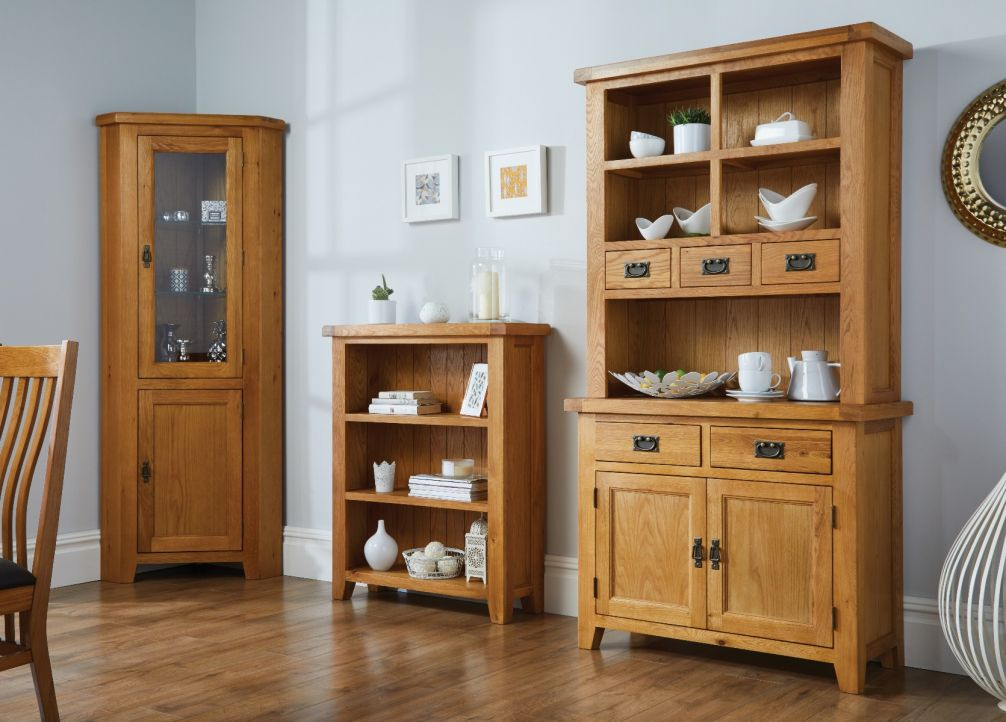 Small Buffet  Hutch Oak Display Cabinet from Top Furniture