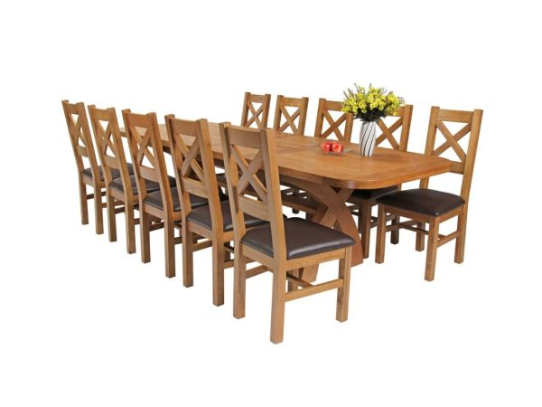 1c93dc8437 Country Oak 280cm Extending Cross Leg Oval Table 8 - Year of Clean Water