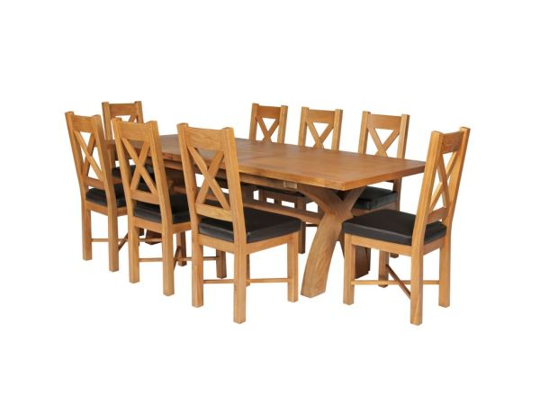 734bf5a19b Country Oak 280cm Extending Cross Leg Square Table & 8 · Brown Square Table  Seats 8 Chairs