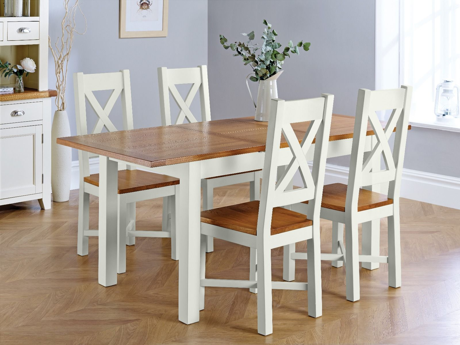 Dining Room Chairs Set Of 4 Country Oak 180cm Grey Painted Extending Dining Table And 4 Grasmere Grey Painted Chairs