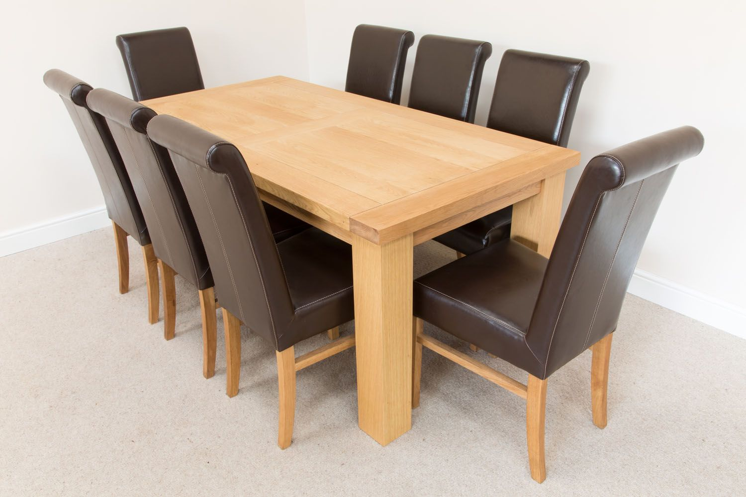 Brown Leather Chairs Riga 180cm Oak Table 8 Emperor Brown Leather Dining Chairs Set Spring Sale