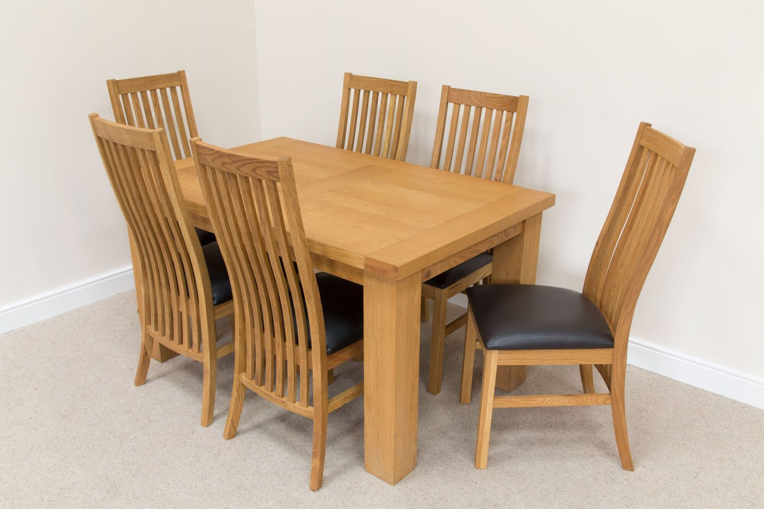 Dining Chair Set Of 6 Riga 1 4m Oak Table Set 6 Lichfield Brown Leather Dining Chairs Set