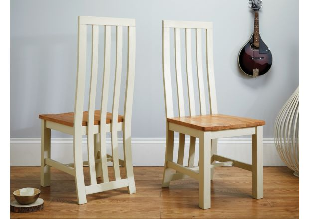 oak kitchen chairs stools for island top furniture dorchester slatted cream painted chair solid seat january sale