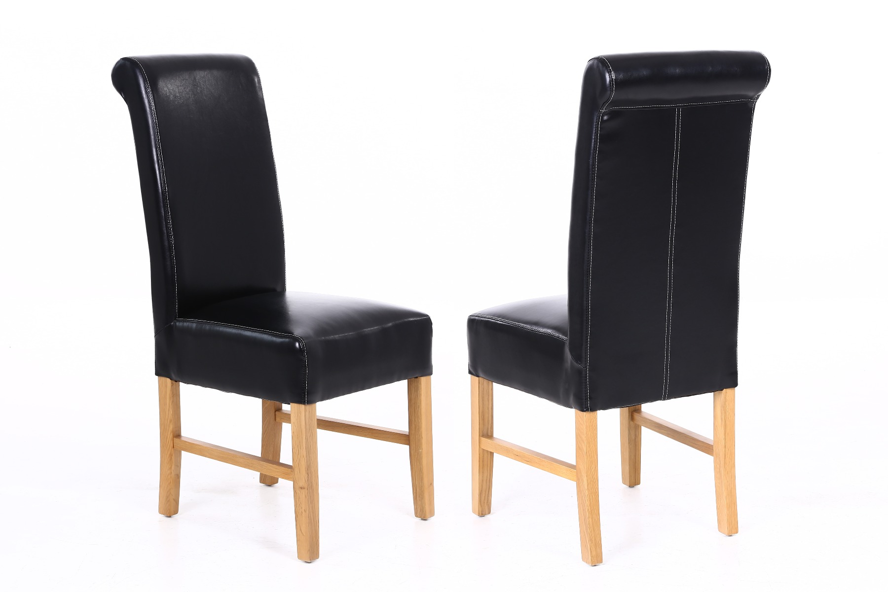 Black Leather Dining Chairs Emperor Black Leather Scroll Back Dining Chairs With Oak Legs