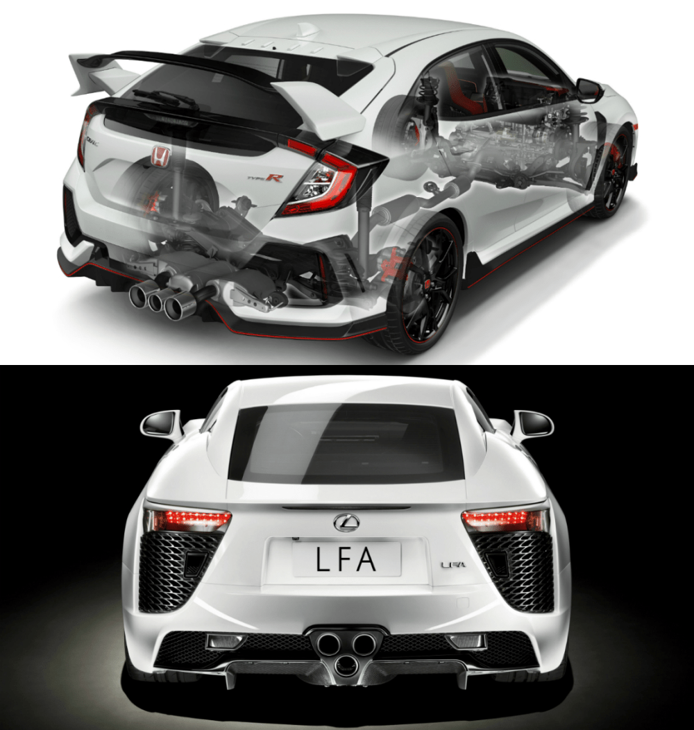 medium resolution of the triple tailpipe exhaust systems of honda s fk8 civic type r hot hatch and lexus