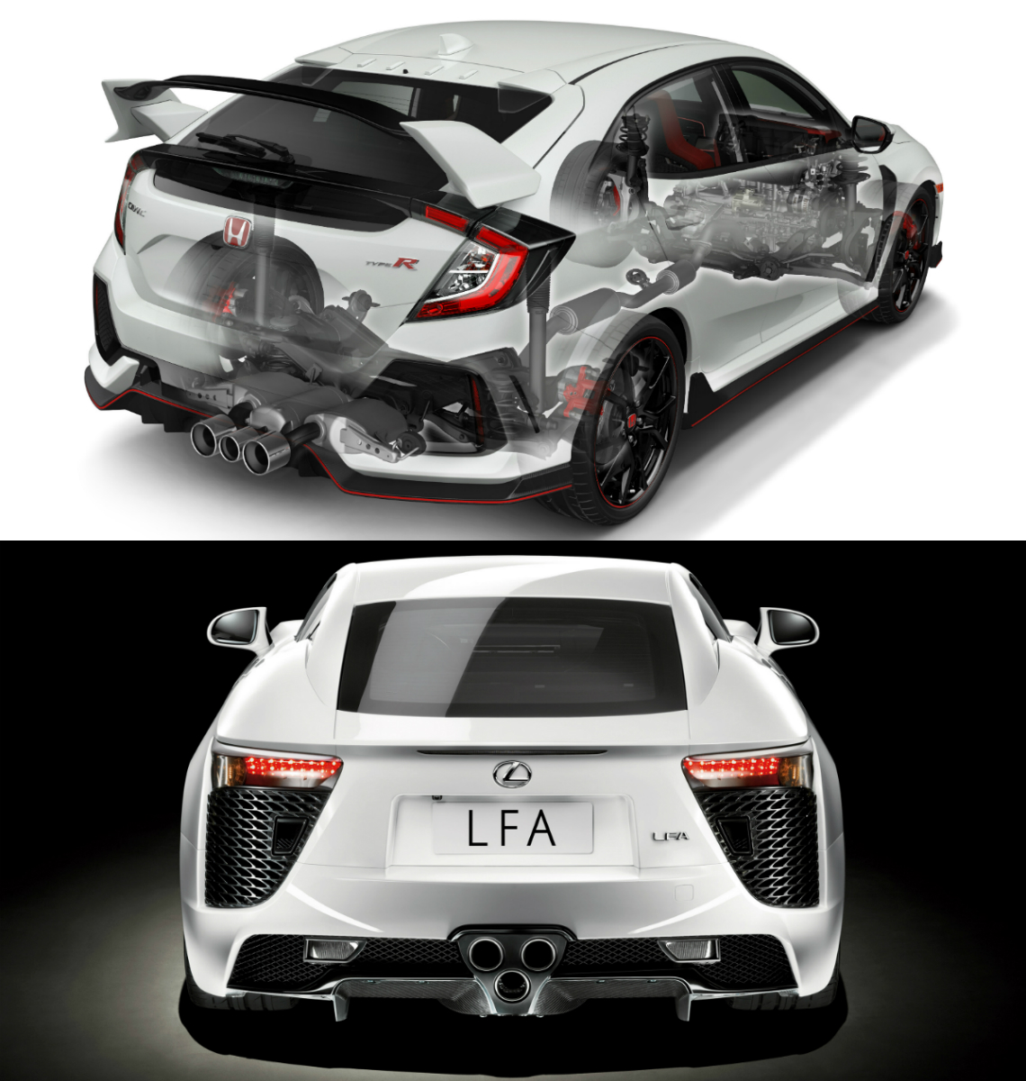 hight resolution of the triple tailpipe exhaust systems of honda s fk8 civic type r hot hatch and lexus