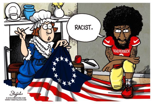 Cartoon Has Colin Kaepernick Meeting Betsy Ross While Rush Limbaugh
