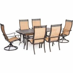 Swivel Rocker Outdoor Dining Chairs Chair Stand Hanover Manor 7 Piece Set With Two Rockers