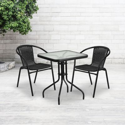 2 chairs and table rattan outdoor chaise lounge under 100 23 5 in square glass metal with black stack at