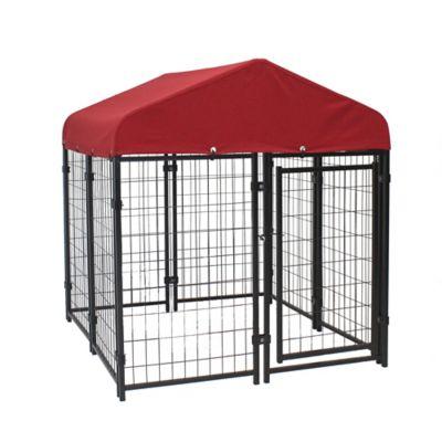 lucky dog pet resort outdoor pet kennel kit with sunbrella prrsun e0210