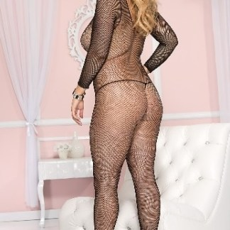 Plus Size Seamless Long Sleeves Fishnet Crotchless Bodystocking
