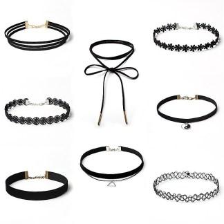 8 Pcs Choker Necklace Set