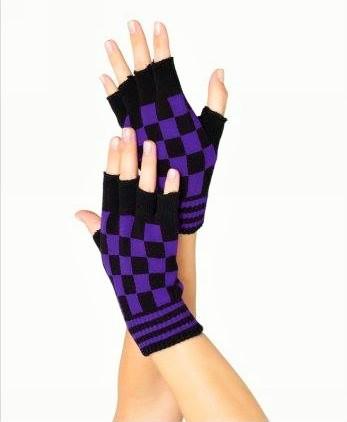 Fingerless Gloves Checkered Purple