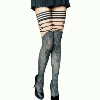 Tattoo Thigh High Sheer Nylon Stockings