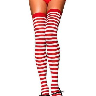 Red White Striped Rugby Stripes Thigh High Sock