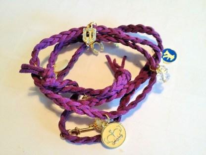 Purple Leather Strap Armband