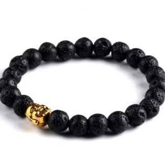 Laughing Buddah Head with Natural Lava Beads