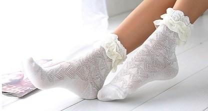 White Lace Trim Socks
