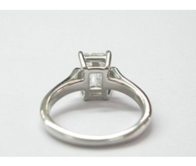 Tiffany Co Platinum Emerald Cut Diamond Engagement Ring