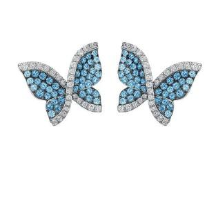 Swarovski 18K White Gold Blue Topaz and Diamond Butterfly