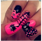 pink and black halloween nails