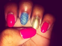 Cute Nail Design For My Birthday. Pink, Gold, && Glitter ...
