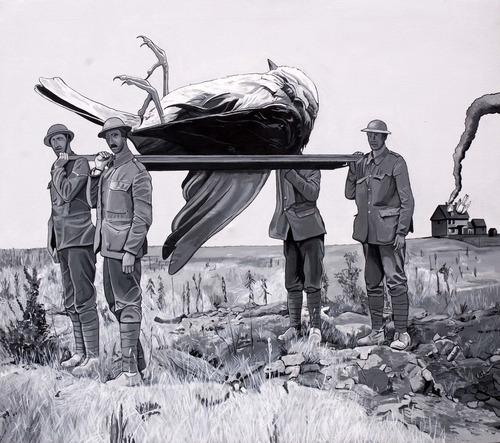Caídos del Cielo. Red Cross  Acrílico sobre tela  170 x 200 cm  2012