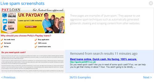 Un ejemplo para una página de spam, borrado del índice por Google