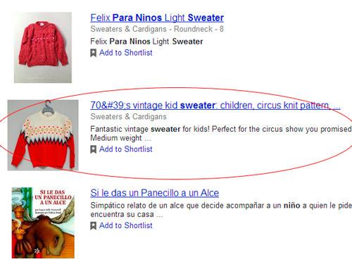 Productos que contienen los rich snippets en la búsqueda de Google Shopping